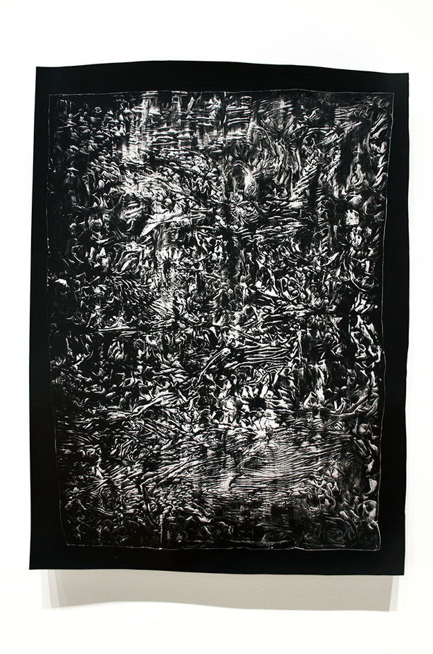 Silver gelatin photogram made with plastic and ink